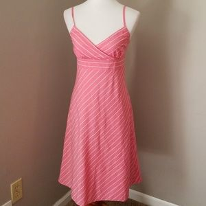J Crew pink and white spaghetti strap dress size 6